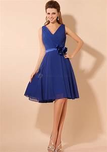 Royal blue chiffon knee length bridesmaid dresses for Royal blue wedding guest dress
