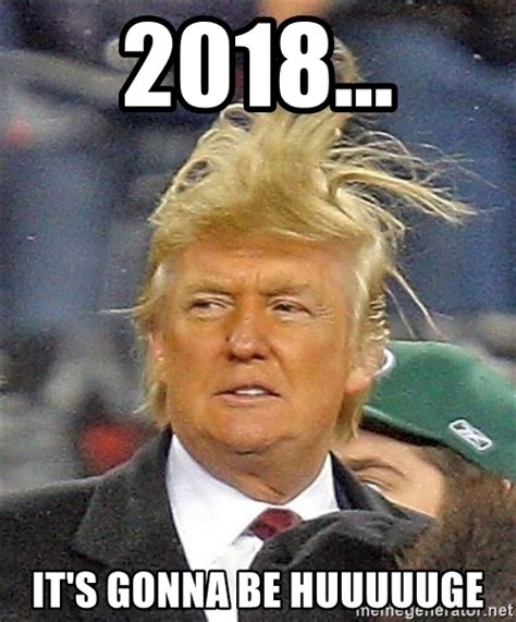 Donald Trump 2018 Memes - 2018 it s gonna be huuuuuge donald trump wild hair meme generator