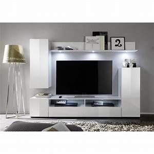 Meuble Tv Mural Blanc : dos meuble tv mural contemporain blanc brillant l 208 cm ~ Dailycaller-alerts.com Idées de Décoration