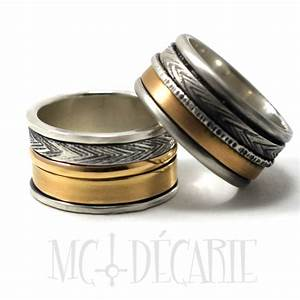 his and hers 2 spinner rings set with silver and 10k gold With spinner wedding ring sets
