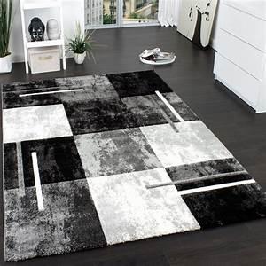 Designer teppich modern mit konturenschnitt karo muster for Balkon teppich mit weiß schwarze tapete