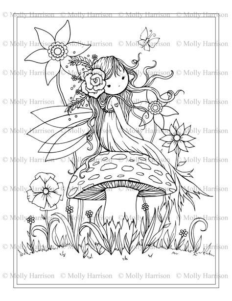 Fairy Sitting on Mushroom Printable Coloring Page Etsy
