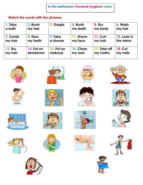 bathroom personal hygiene verbs interactive worksheet