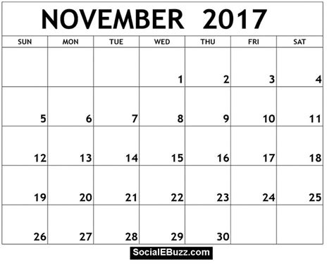 november  calendar printable template  holidays