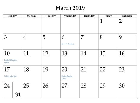 March 2019 Holidays Calendar