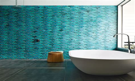 bathroom navy  turquoise fish wallcovering pictures
