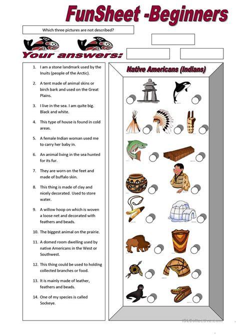 Funsheet For Beginners Native Americans (indians) Worksheet  Free Esl Printable Worksheets