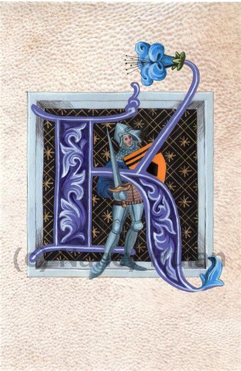 alphabet letter  medieval illuminated letter  painted