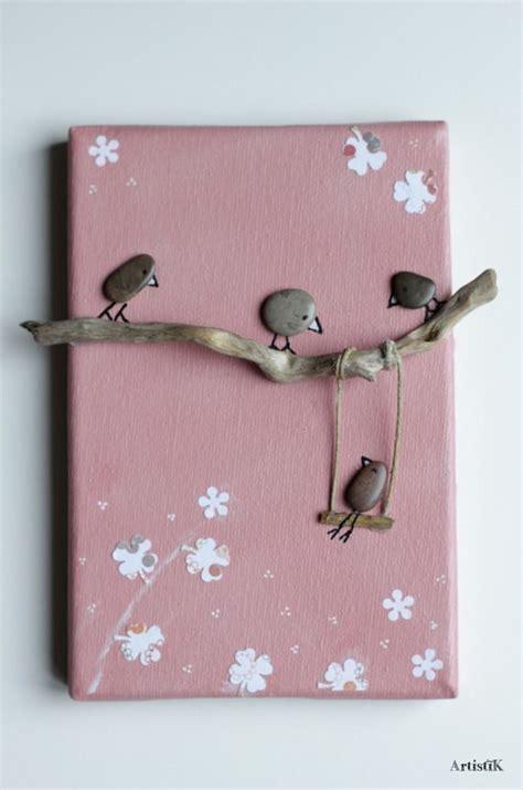 chambre rock tableau galets oiseaux bois flotté fond saumon dessin