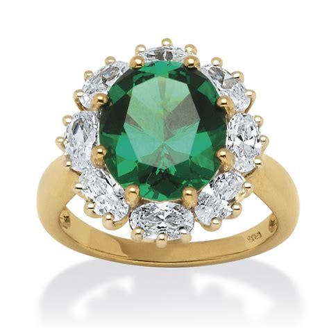 tcw created oval cut emerald ring  cz accents