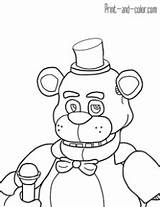 Freddy Coloring Fnaf Pages Print Nights Five Drawing Golden Freddys Drawings Printable Sheets Fazbear Para Colouring Foxy Dibujos Colors Colorear sketch template