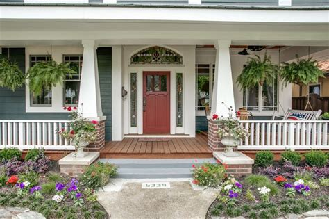 Front Porch Columns Porch Craftsman With Flowers Hanging