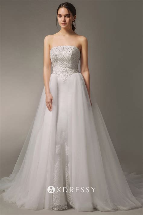 Beaded Satin Mermaid Wedding Dress with Overskirt - Xdressy