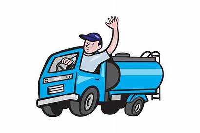 Driver Truck Tanker Cartoon Waving