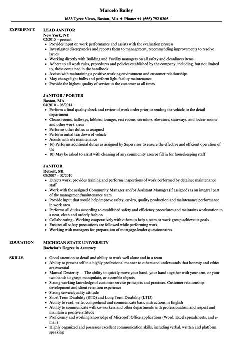 Janitor Resume by Janitor Resume Sles Velvet
