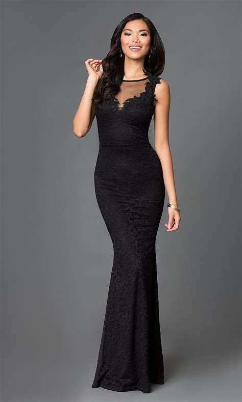 Long Black Illusion Lace Formal Gown