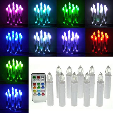 automatic tea light candles 10pcs set remote control electric candle light 12 color