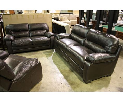 Modern Brown Leather Sofa, Love Seat And Chair Set