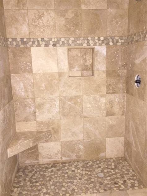 large java tan  white pebble tile shower border