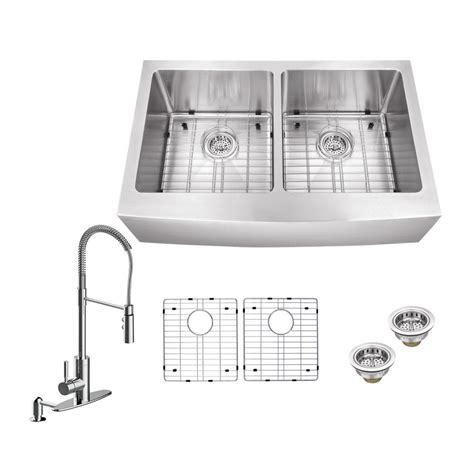 schon kitchen sinks schon all in one farmhouse apron front stainless steel 33