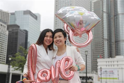 hong kong s lgbt supporters rally in central calling for city to follow taiwan s exle