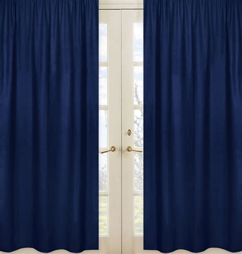 solid navy window treatment panels for navy blue and gray
