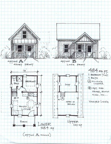 cabin plans with loft free cottage bunkie