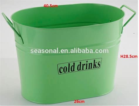 Large Galvanized Metal Iron Oblong Cold Drinks Bucket