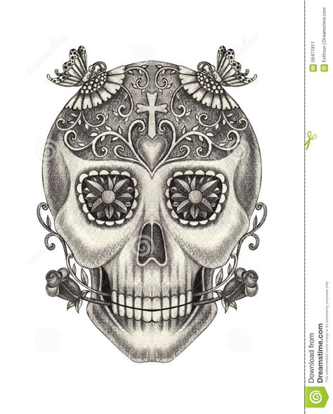 Skull Art Surreal Day The Dead Stock Illustration