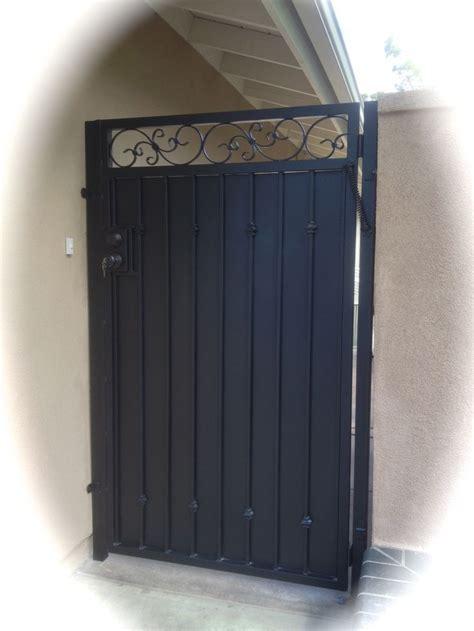 iron gate straight top fancy scroll sheet metal decor inspiration  ideas   house