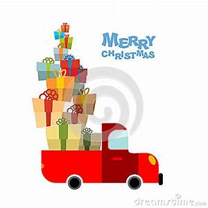 Merry Christmas Car And Lots Gift Box Truck Bunch
