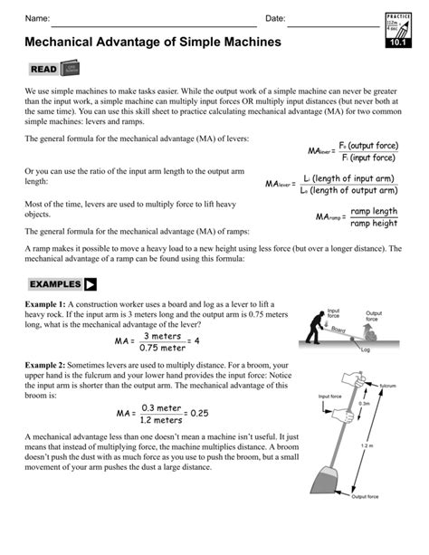 Simple Machines Mechanical Advantage Worksheet Worksheets For All  Download And Share