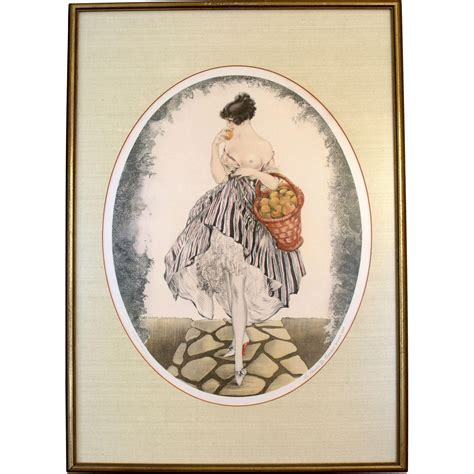 "Louis Icart ""Young Girl with Apple Basket"" Print : Josephs"