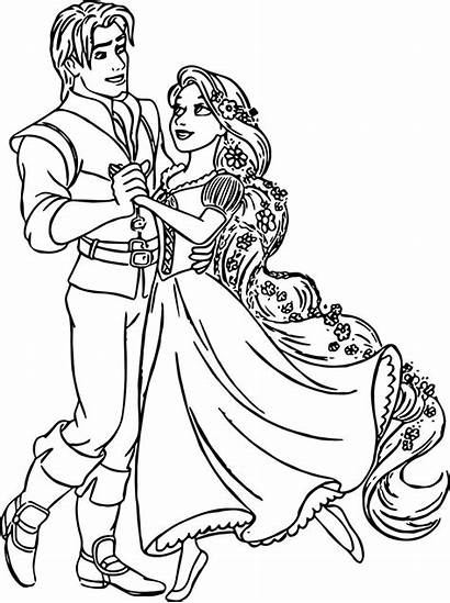 Rapunzel Coloring Pages Flynn Dance Disney Printable