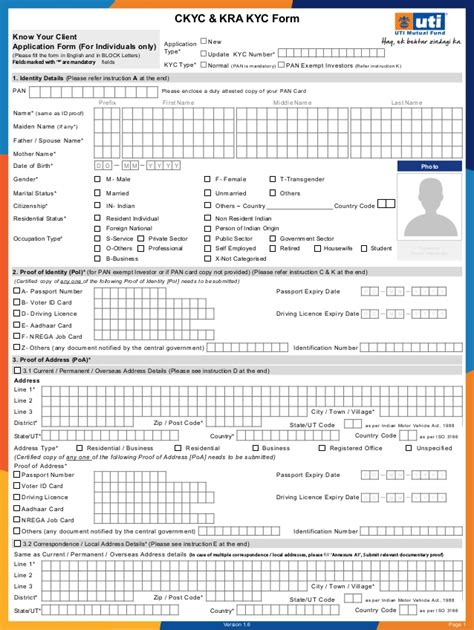 know your client application form for individuals only