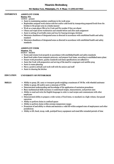 Cook Experience Resume by Assistant Cook Resume Sles Velvet