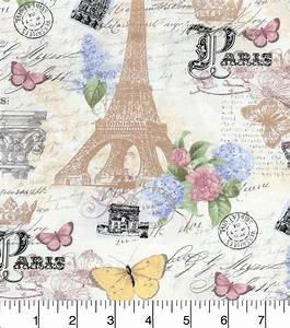 Buttercream Cosette Cotton Fabric-Paris Life Metallic