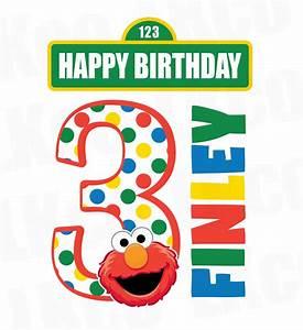 Sesame Street Iron On Birthday Shirt Design   Elmo Happy ...