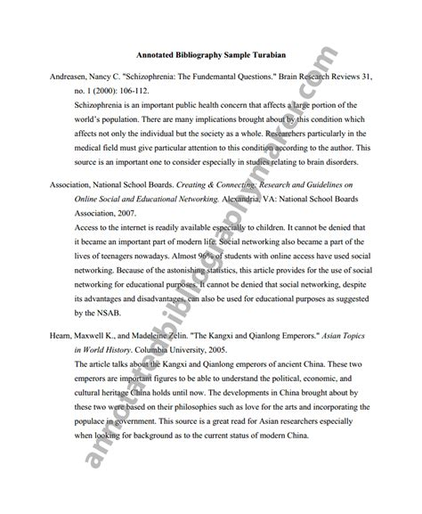 turabian format template turabian annotated bibliography annotated bibliography maker