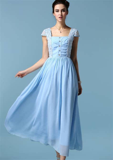 light blue vintage dress women retro light blue lace short sleeve fit and flare