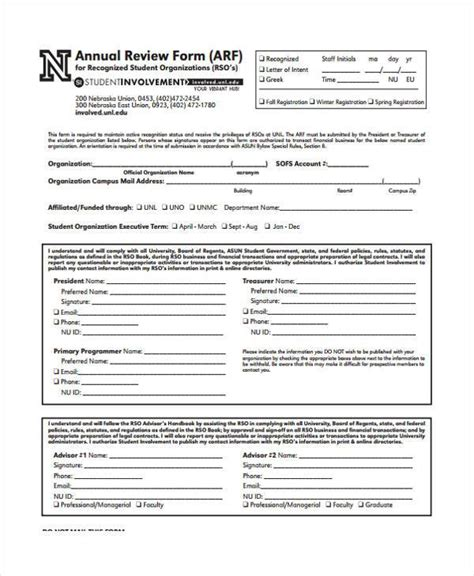 annual review template sle annual review forms 7 free documents in word pdf