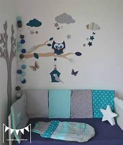 gigoteuse turbulette tour de lit hibou etoiles gris With deco chambre turquoise gris