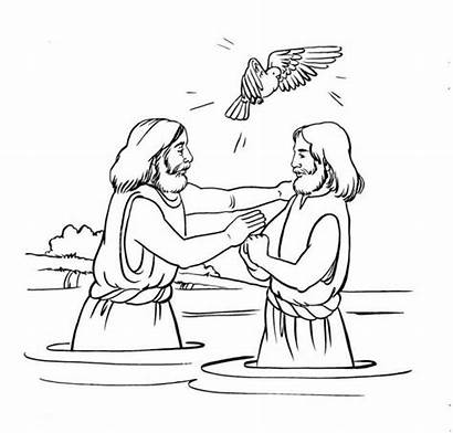 Baptism Dove Jesus Coloring Printable Pages