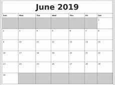 June 2019 Blank Printable Calendar
