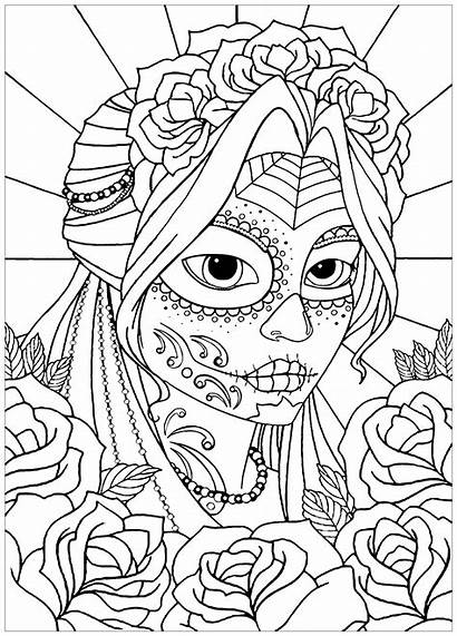 Muertos Dia Coloring Los El Woman Pages