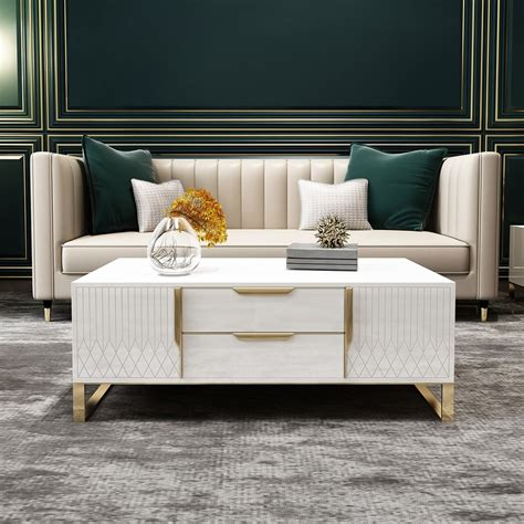 Surely, a coffee table with a storage shelf underneath its top is nothing unusual. Aro White Coffee Table with Storage Rectangular Coffee ...