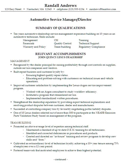 sample resume   seeking  job   automotive