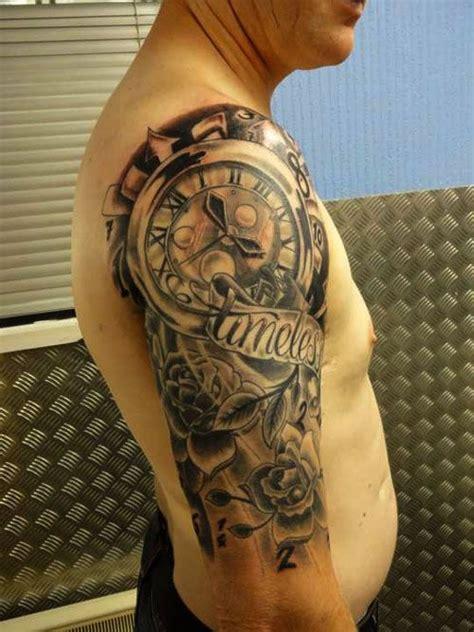 men tattoos clock  sleeve tattoo designs  men