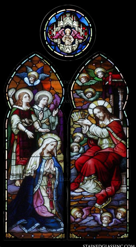 queen  heaven religious stained glass window