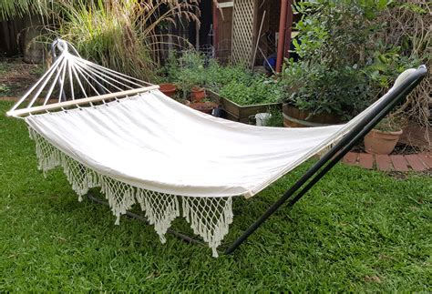 Hammock Photos by Large White Canvas Hammock With Spreader Bar And Tassels